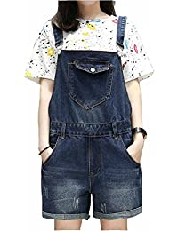 db051c198ce5 Elwow Women s Lady s Summer Distressed Washed Turn up Loose Fit Bib Overalls  Denim Short Dungarees Jeans