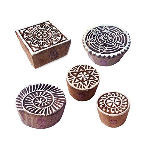 Royal Kraft Orientalisch Designs Vogel und Quadrat Holz Blöcke für Drucken (Set von 5)