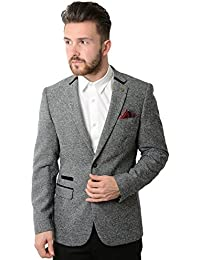 Marc Darcy Rayford Grey Herringbone Tweed Blazer