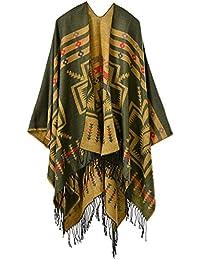 55e5120a259f9 Mochoose Poncho et Cape Tricot Châle Plaid Écharpe Couverture Wrap Tartan  Chaude Frange Hiver pour Femme