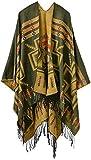 Mochoose y Del Poncho del Cabo del Mantón Bufanda de Punto Tela Escocesa de Tartán de la Cubierta del Abrigo de Invierno de la Franja Caliente Mujer(Amarillo)