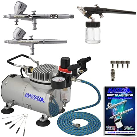 Professional Master Airbrush Fine Detail Control Airbrushing System with 3 Ma... by Master Airbrush