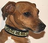 Strass Hundehalsband Super Glitzer Halsband kleine Hunde 30-35 cm Leder Strass Gold farb. Gr. S - 2