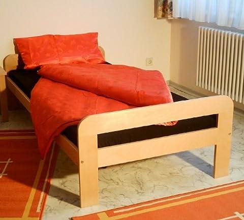 Einzelbett Bett Gästebett 100x200 Buche massiv natur lackiert Kinderbett (Günstige Jugendbetten)