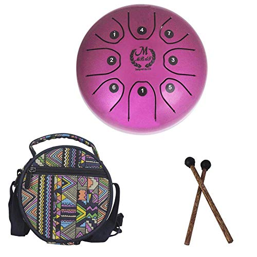 el Tongue Drum Percussion Drum Stainless Handpan Brahma Drum with Drum Mallets Carry Bag for Meditation Yoga Zazen Sound Healing 5.5 Inch (Purple) ()