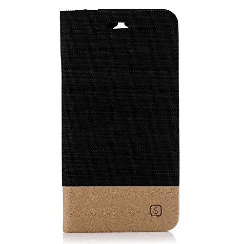 compatibile Per WIND SMART 2017 5044Y 5044X 5044D (5.0) Custodia COVER case STAND LIBRO GEL SILICONE TPU MORBIDA portafoglio porta carte Nero/sabbia