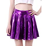 Yying Damen Röcke Shiny Metallic Dancewear Hohe Taille Short Mini Falten Rock Lila S