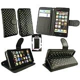 Emartbuy® Apple Iphone 5 / 5S Luxus EdelsteinbesetZTEs Schwarz Pu-Leder-Desktop-Ständer Case Tasche Hülle Geldbörse Mit Kreditkartenfächer Und -Schirm-Schutz