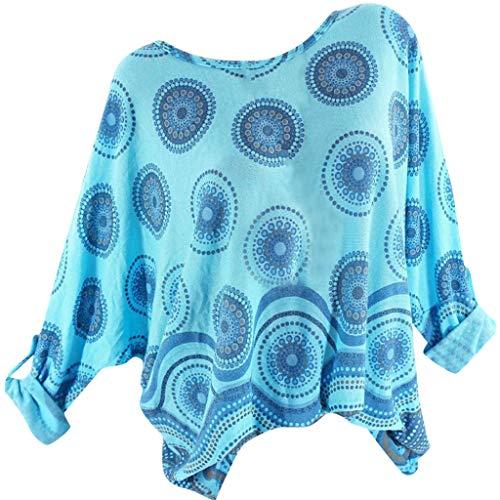 TOPKEAL Damen Top Bluse Frühling Sommer Frauen Bequem Blusen Casual Tops Freizeit-T-Shirt mit Kreiskragen Bedruckt Langarm