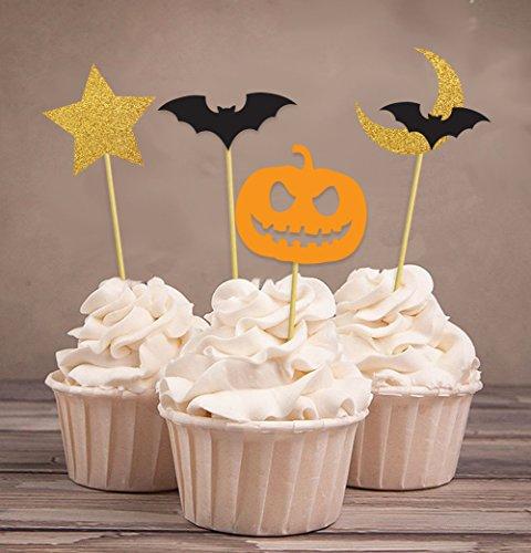 Darling Souvenir, Kürbis Halloween Party Cupcake Topper, Party Dessert Dekorationen Fledermaus, Star Moon Picks - Pack von (Fledermaus Halloween Picks)