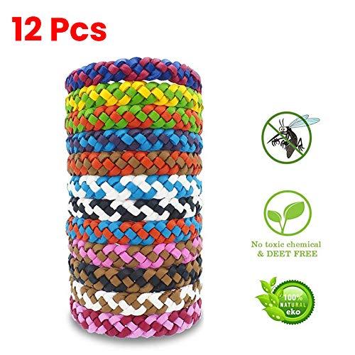 ViXiLin 12 PCS Mückenschutz Armband Bracelet wasserdichte Armbänder Innen- und Außenschutz Multicolor