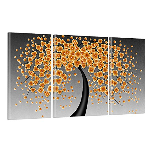 UNIQUEBELLA Multi Yellow flowers in flying Tree painting printed on Canvas, Poster print painting on Canvas for Home kids room decoration (No Frame,unmounted),3 pcs/set 35cm x 75cm*2 & 50cm x 75cm*1