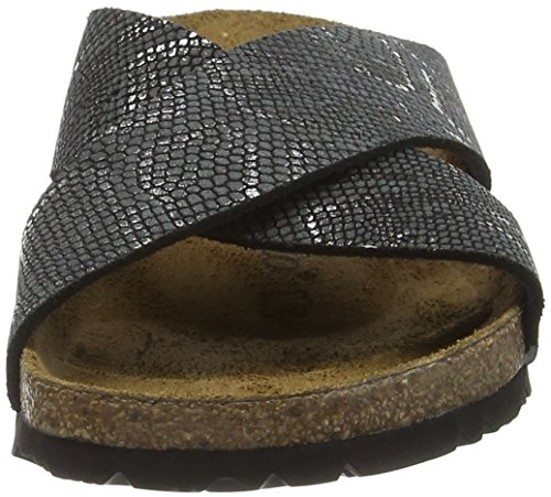 Birkenstock Damen Daytona Leder Pantoletten Schwarz (Royal Python Black)