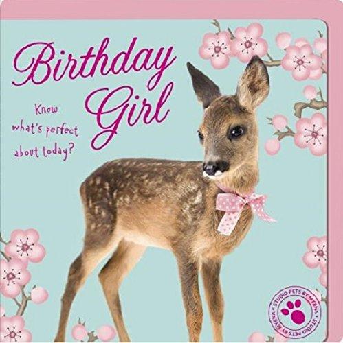 """Tarjeta de cumpleaños para niña con texto en inglés""""Studio pets baby deer birthday girl"""""""