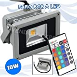 XX 6774 FARO FARETTO RGB LED 10W MULTICOLOR COLORI USO ESTERNO TELECOMADO FLASH