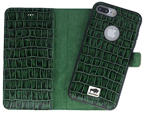 Solo Pelle iPhone 7 Plus / 8 Plus abnehmbare Lederhülle (2in1) inkl. Kartenfächer für das original iPhone 7 Plus / 8 Plus ( Vintage Lila ) inkl. Edler Geschenkverpackung Kroko-Grün