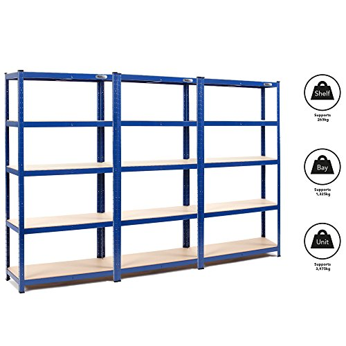 VonHaus 3 Bay 1.8m 5 Tier Heavy Duty Industrial Steel & MDF Boltless Racking Shelving Unit or Workbench - Massive 3,975kg Capacity | 265kg Per Shelf | Includes Rubber Mallet and 12 Connectors