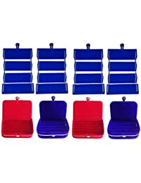 Afrose Combo 4 Pc Blue Earring Folder 2 Red Ear Ring Box And 2 Pc Blue Ring Box Jewelry Vanity Box