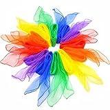Da.Wa 12X Bufandas de Danza Malabarismo Hemmed Cuadrado Multicolor Ritmo Banda Bufanda (24 x 24 Inches)
