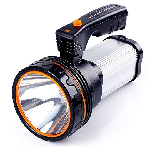 ALFLASH Torcia LED per torcia ricaricabile ad alta potenza 7000 Lumens Torcia LED per portatile super luminoso impermeabile IPX4 Proiettore LED portatile, 9000mAH (Argento)