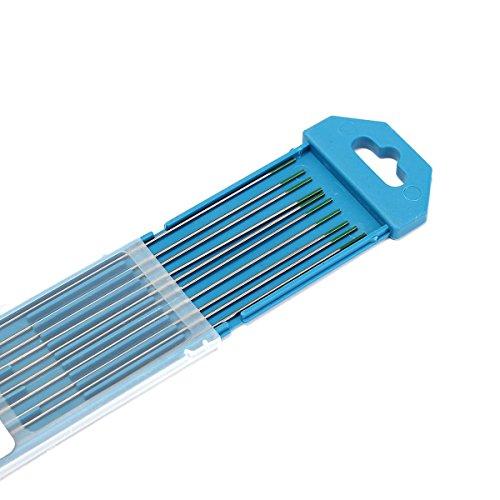 MASUNN 10Pcs 1Mm X 175Mm Grüne Spitze Reine Wolfram-Elektrode Für Wig-Schweißen