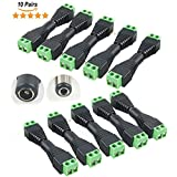 10 Pairs 12V Male+Female 2.1x5.5MM DC Power Jack Plug Adapter Connector Male To Screw Terminal For CCTV Camera, LED Light Strip