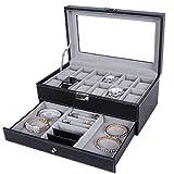 Leefrei Uhrenbox Uhrenaufbewahrung für 12 Uhren & Schmuckkästchen Schmuckkoffer (Schwarz)