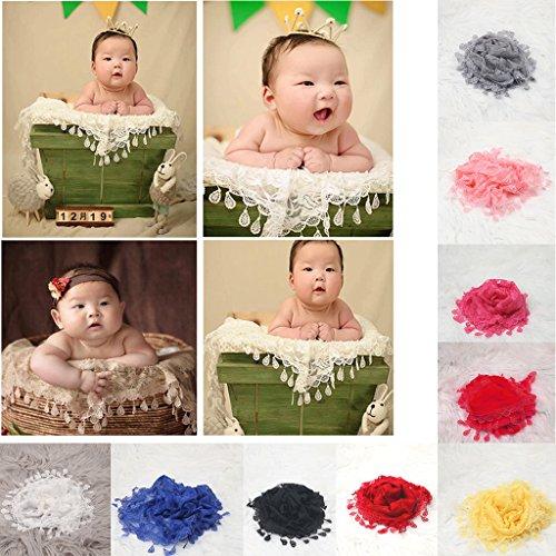 Gazechimp Neugeborene Baby Fotografie Requisiten Girl gehäkelte Baby kostüm fotoshooting mit Blumen Haarband - Gelb + weiß, gemischt