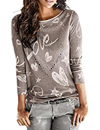 Camisa de mujer Manga larga O-cuello Carta Impreso Algodón Casual Suelto Blusa Tops Camiseta