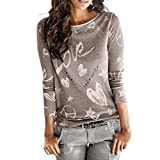 Camisa de Mujer Manga Larga O-Cuello Carta Impreso Algodón Casual Suelto Blusa Tops Camiseta LMMVP (L, Café)