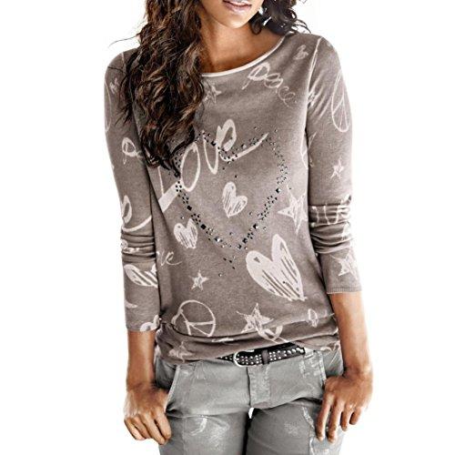 0ce22182 Camisa de Mujer Manga Larga O-Cuello Carta Impreso Algodón Casual Suelto  Blusa Tops Camiseta LMMVP (L, Café)