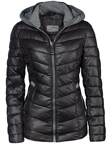 Chaqueta de invierno corta con capucha para mujer, chaqueta de esquí negro...