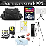 16GB Accessory Kit For Nikon Coolpix B500 L330 L340 L810 L820 L620 L830 L840 Digital Camera Includes 16GB High Speed SD Memory Card + 4AA High Capacity Rechargeable NIMH Batteries And Rapid Charger + Case + Tripod + +