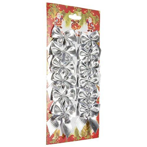 PIXNOR 24Pcs Bowknots per la decorazione dell'albero di Natale di Natale Decor Bow (argento)