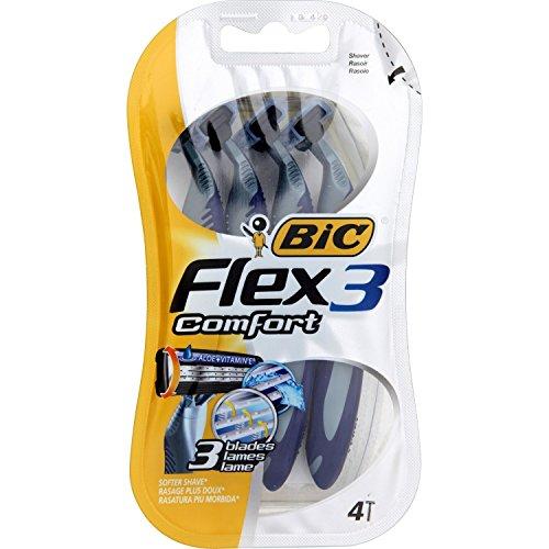 BIC 3Stück HighEnergy 4Rasierer Flex 3Comfort zu 3Klingen Mobile Kopf Pivot + Gleitstreifen - Pivot-rasierer