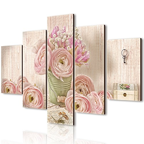 Vogue quadro su legno 5 pezzi Romantic Lyrics 66x115 cm