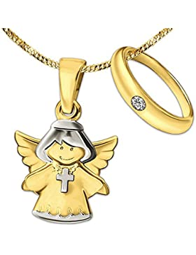 CLEVER SCHMUCK-SET 2 Goldene Anhänger ein Kinderengel 13 mm Kreuzkette tragend glänzend bicolor und ein Taufring...