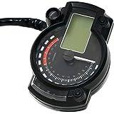 Foxpic Universal LCD Digital Velocímetro Odómetro Tacómetro Con Faros Indicadores para 12V Moto Motocicleta