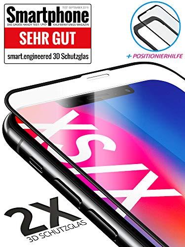 3D Schutzglas 9H Fullscreen [2 Stück] kompatibel mit iPhone X und iPhone XS [Panzerglas-Folie] Premium Glas-Schutz,Schablone-Installationshilfe,Hartglas,Hüllenfreundlich,volle Abdeckung,Transparent