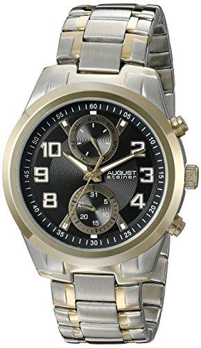 August Steiner Hommes de montre à quartz avec affichage analogique et cadran noir deux tons Bracelet en acier inoxydable as8173ttgb
