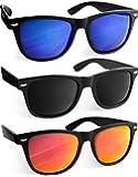 UVprotect® klassische Sonnenbrille in Hornbrillen Design verspiegelt - UV400 - W02