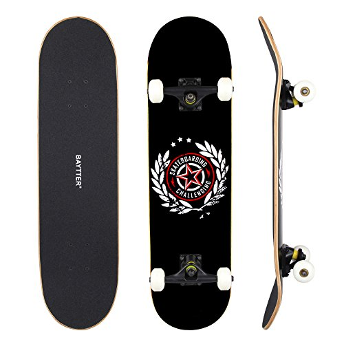 BAYTTER® Skateboard Komplett Board Funboard 79x20cm mit 7-lagigem Ahornholz und ABEC-11 Kugellager 95A Rollenhärte, für Kinder, Jugendliche und Erwachsene, 3 Farben wählbar (schwarz) (Weiß Skateboard Kinder Schuh)