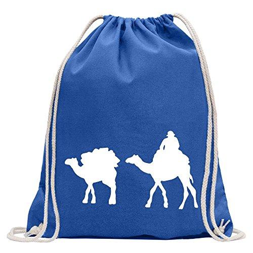 Kiwistar Karawane - Kamele - Wüste Turnbeutel Fun Rucksack Sport Beutel Gymsack Baumwolle mit Ziehgurt