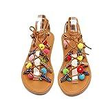iHENGH Sandali Moda Casual Vintage Donna Scarpe Boemia Pantofola Elegante Spiaggia Gladiatore Lavoro Sandalo Peep-Toe Scarpe Women Romana Estate