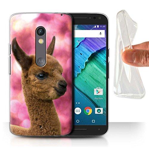 Play Baby Gehäuse (Stuff4 Gel TPU Hülle / Case für Motorola Moto X Play 2015 / Cria/Baby Muster / Südamerika Alpaka Kollektion)