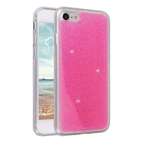 2pz iPhone 7 Custodia Morbido TPU, Cover iPhone 8 Bling, Moon mood® Paillettes Bumper Scintillare Glitter Caso per Apple iPhone 8 Custodia Silicone Protettivo Soft Back Case Slim Cover Copertura per i Stile 5