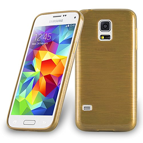 Cadorabo Hülle für Samsung Galaxy S5 Mini / S5 Mini DUOS - Hülle in Gold – Handyhülle aus TPU Silikon in gebürsteter Edelstahloptik (Brushed) Silikonhülle Schutzhülle Soft Back Cover Case Bumper