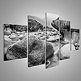 Cuadro Cuadros Hermoso paisaje de la playa de Porth Cornwall, Inglaterra Nanven blanco y negro Impresión sobre lienzo - Formato Grande - Cuadros modernos DJU
