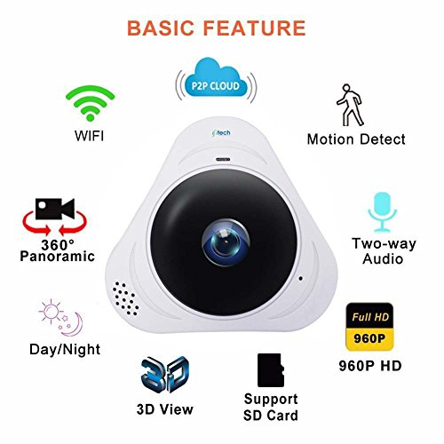 Ifitech 360 Degree Ip Camera Home Secutity Panoramic Wifi Wireless Hd 960p Motion Detection Ir Night Vision Two Way Audio Monitor Office, Home, Garage, Shop, Baby, Elderly Or Pets Support 128g Sd Card - White