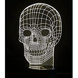 Funtime Gifts 3D Skull - Lámpara de iluminación óptica, acrílico, color blanco